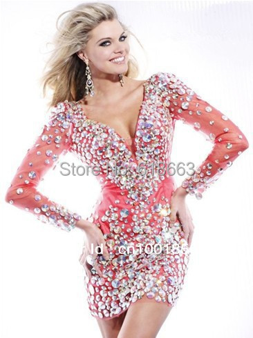 Sexy Glitter Crystal Short Mini Prom Dresses 2014 With Loing Sleeves ...