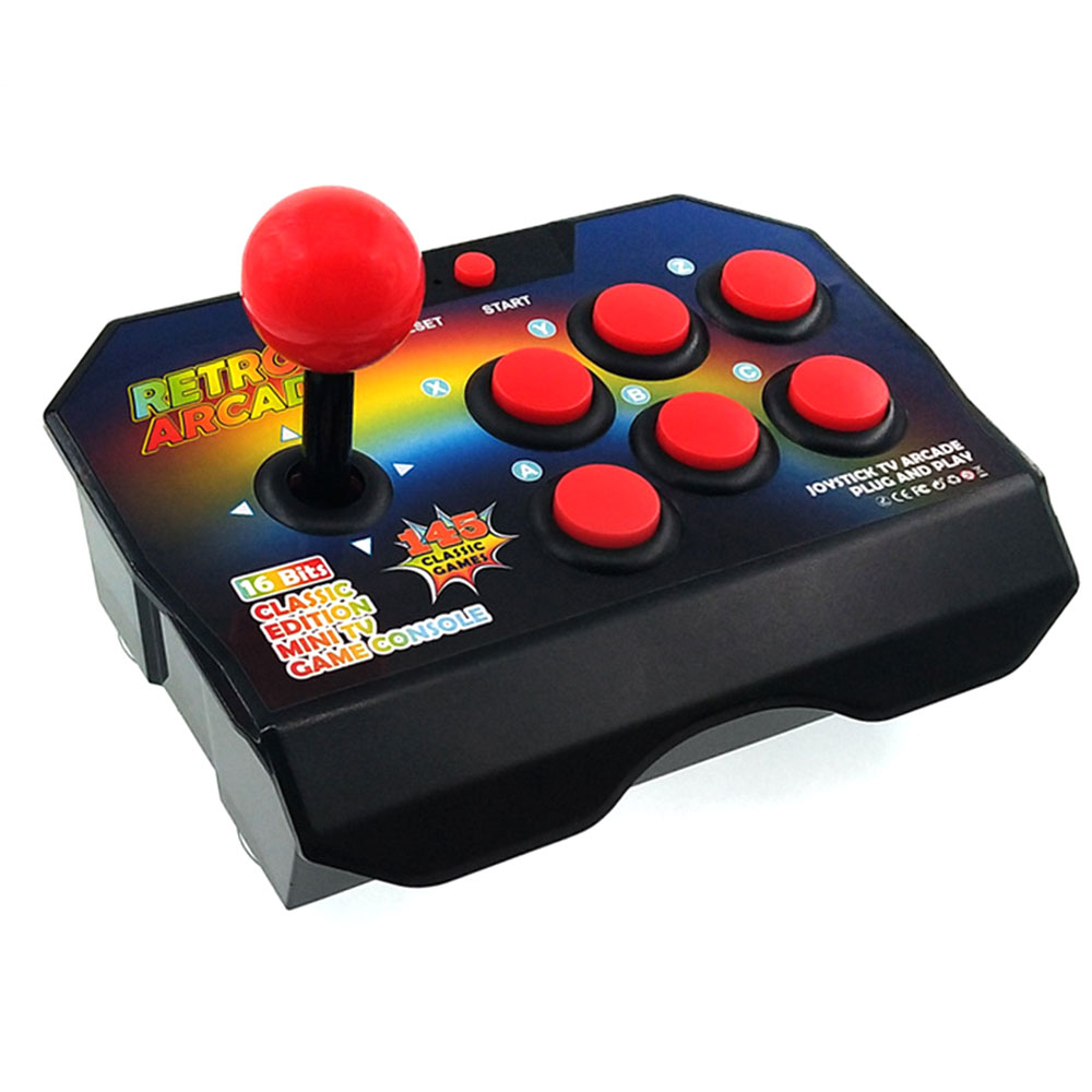 New Retro Joystick Video Game Consoles 16 Bit Built in 145 Arcade Game ABS Console Players Stick Controller Console AV Cable