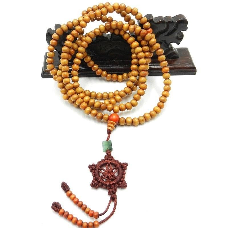 Tibetan Sandalwood Buddhist Buddha 216 Prayer Beads Mala Bracelet/Necklace