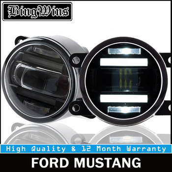 BEINGWINS 2015 For FORD MUSTANG foglights+LED DRL+turnsignal lights Car Styling LED Daytime Running Lights LED fog lamps