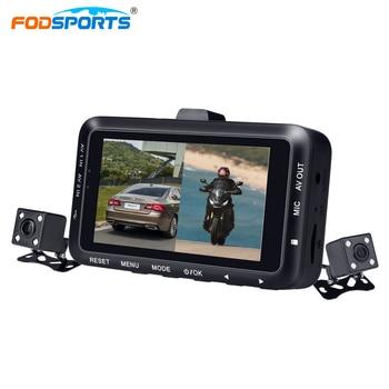 Fodsports 3 Inch DV168  Motorcycle DVR Motorbike Video Recorder Dual Dush Lens Cameras Dash Cam Night Vision Motorbike Camera kamerar 3 2 16 9 lcd viewfinder for video cameras slr cameras black red