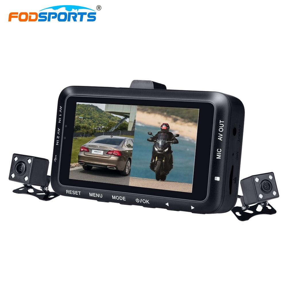 Fodsports 3 Pouce DV168 Moto DVR Moto Enregistreur Vidéo Double Dush Lentille Caméras Dash Cam Nuit Vision Moto Caméra