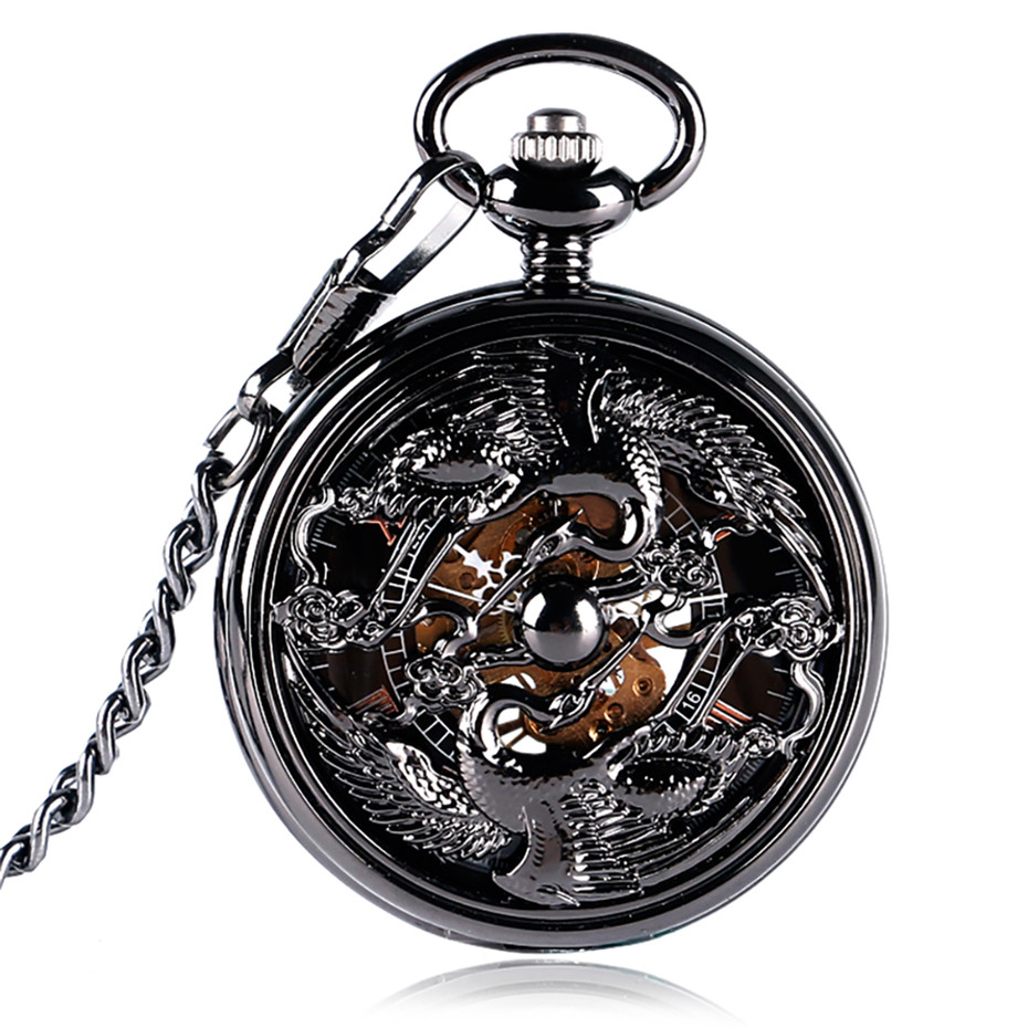 Vintage Black Hollow Crane Mechanical Hand Winding Pocket Watch Classic Roman Numeral Skeleton Display Pocket Pendant Clock Male