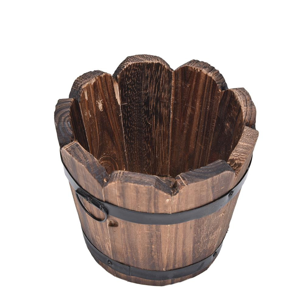 Bồn gỗ trồng cây dáng thùng cách điệu