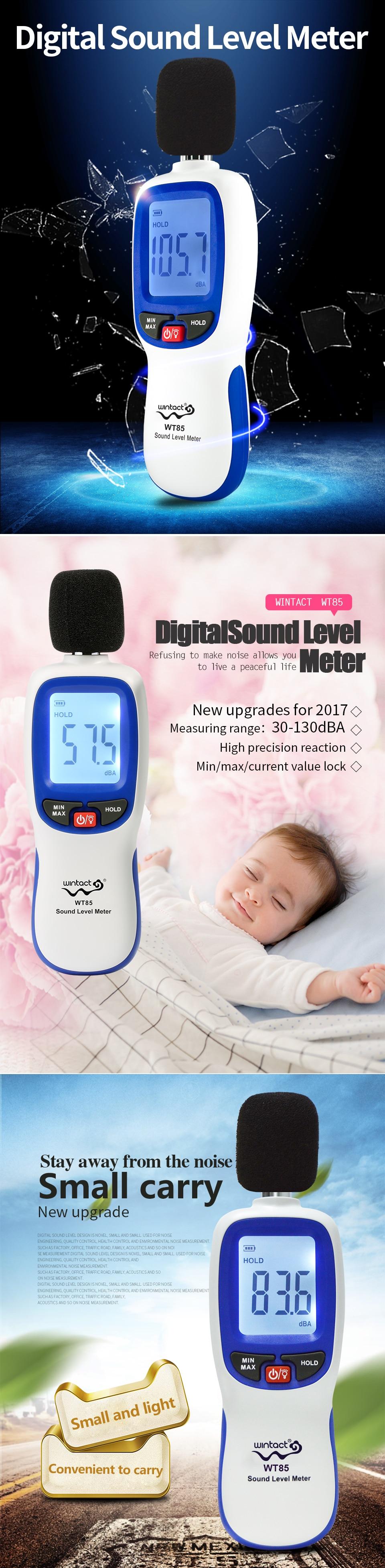 Цифровой измеритель уровня звука диапазон 30-130dB(A) Уровень шума децибел метр самокалиброванный децибел мониторинг тестер