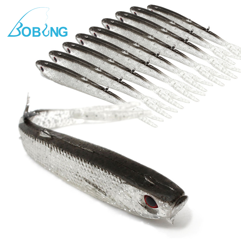 Купить со скидкой Bobing 10pcs/lot 95mm 3.7g Soft Silicone Tiddler Bait Fluke Fish Fishing Saltwater Fish Lure Baits T