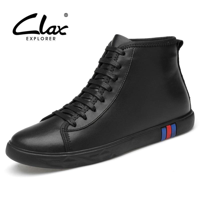 CLAX Men Boots Winter Shoe Male Casual Leather Shoe Plush Fur Warm Snow Shoe White Black Walking Footwear chaussure homme цена