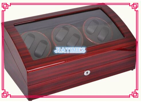 6+7 Striped Wine Red + Black Watch Winder Wood Case Box Carbon Fiber PU 4 black watch winder wood case box carbon fiber pu w led lock w key