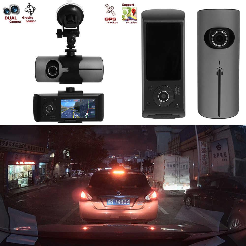 """1 комплект 2,7 """"Автомобильный видеорегистратор с двойным объективом 3D g-сенсор gps-навигатор с разрешением Full HD видеорегистратор"""