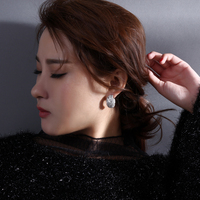 New Fashion 2014 18k Real Gold Plated CZ Crystal Stud Earrings For Woman White Cubic Zirconia