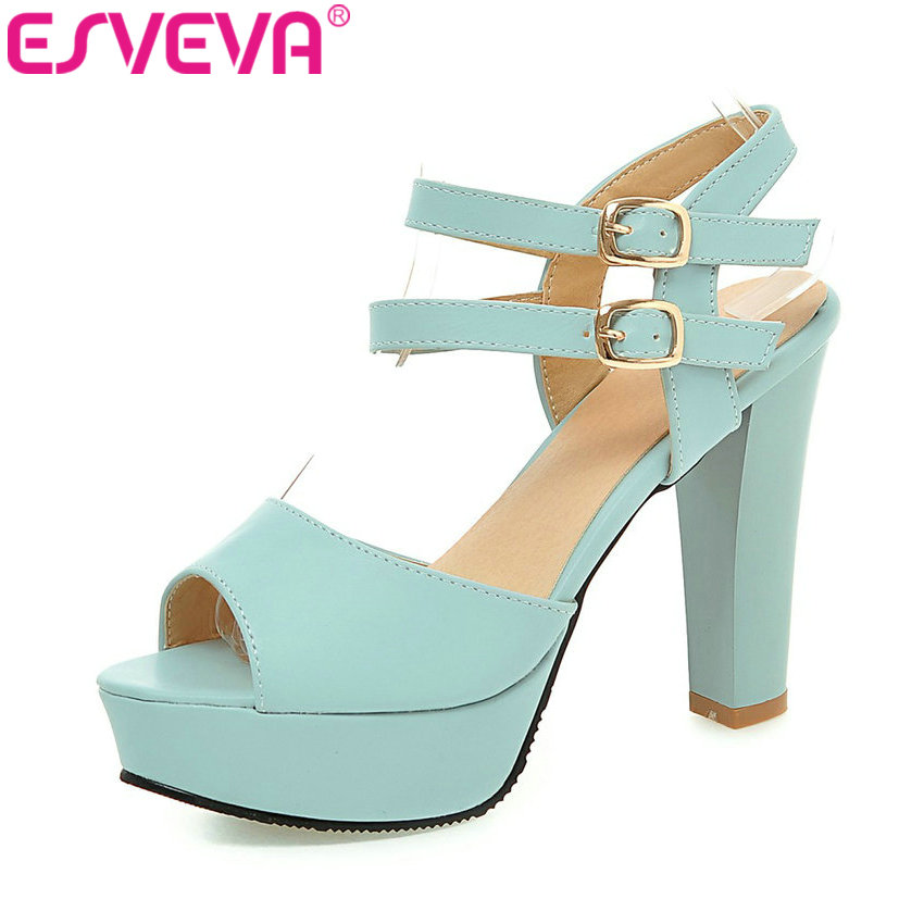 ESVEVA 2017 Peep Toe Spike High Heel Wedding Shoes Buckle Strap Women Pumps Sexy Platform Party Pink Blue Shoes Big Size 34-43