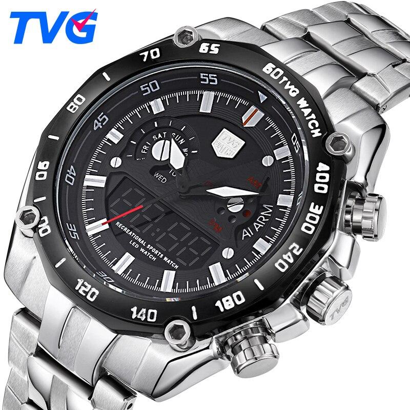 15be7556f4e TVG Homens De Luxo Da Marca Analógico Digital Relógios Desportivos Relógio  Militar do Exército Dos Homens