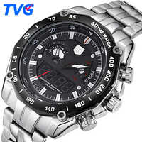 TVG Luxury Brand Men Analog Digital Leather Sports Watches Men's Army Military Watch Man Quartz Clock Relogio Masculino 2PCS/lot