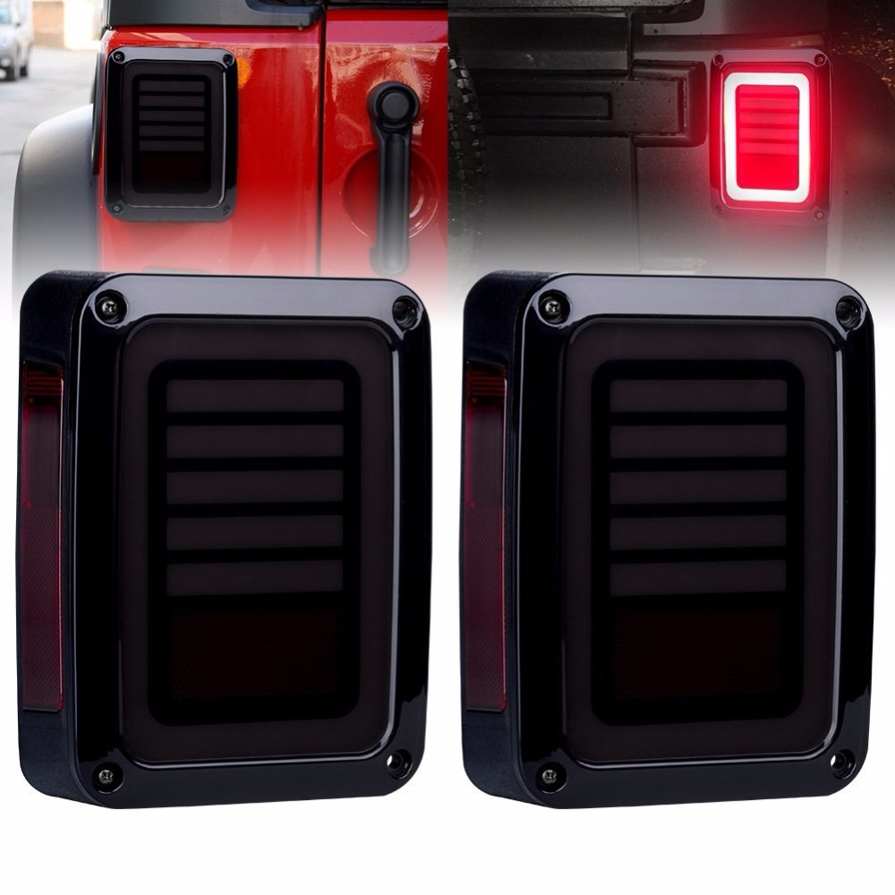 Upgraded Smoked LED Tail Lights for 07-17 Jeep Reverse Light Turn Signal Lamp Running Lights for Jeep Wrangler JK, 2 Years Warranty