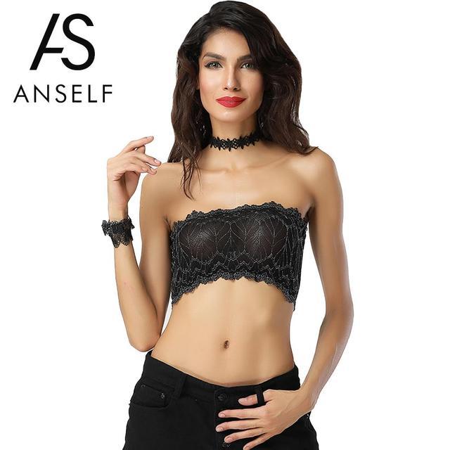90a5546cbf Anself Summer Tube Top 2018 Sexy Women Mesh Lace Bra Top Solid Lingerie  Tank Top Bralette Bra Cami Crop Bralet Nightclub Black