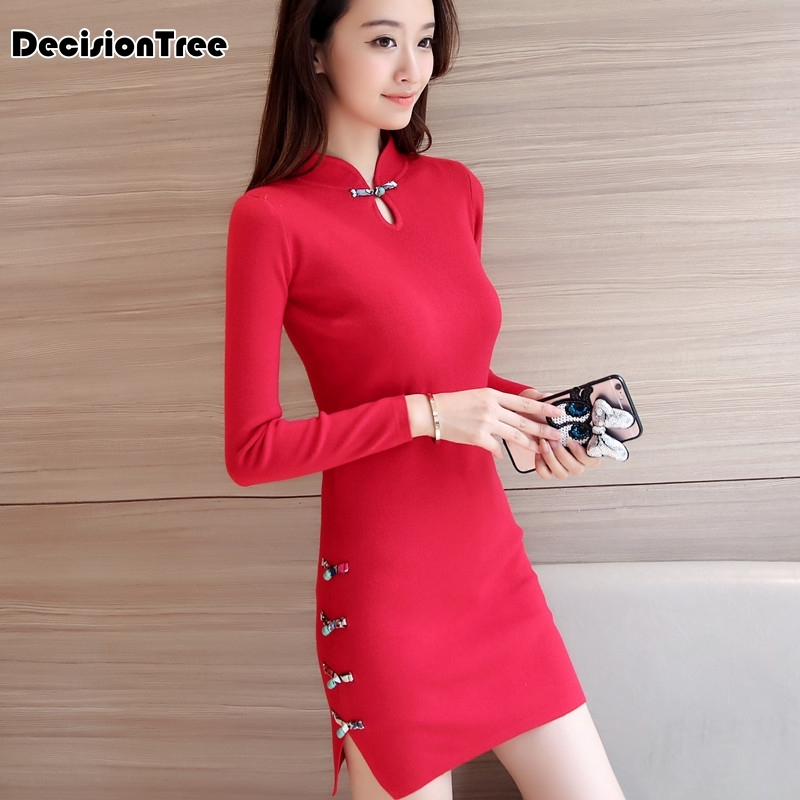 2019 chinese traditional dress long sleeve red black warm cheongsam traditional chinese dresses for women chinese dress in Cheongsams from Novelty Special Use