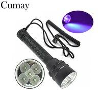 395nm LED 5X Doble Chip Púrpura Lighgt Bajo El Agua 50 Metro de Buceo Impermeable LED Linterna de luz Ultravioleta Antorcha + lanyard