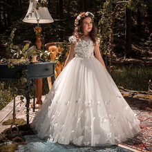 New Kids Pageant Evening Gowns 2021 Lace Ball Gown Flower Girl Dresses For Weddings First Communion Dresses For Girls