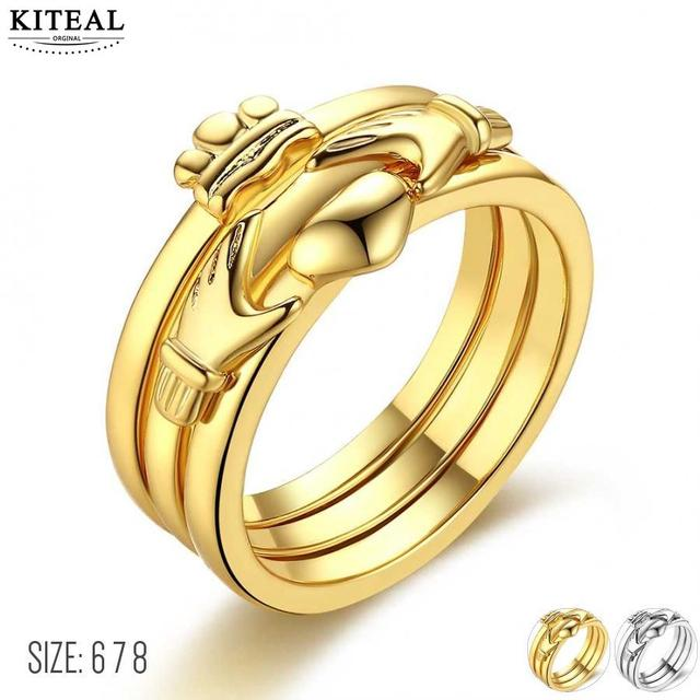 d4b331b34 online shopping india alianca banhado ouro wedding rings crown Hands heart  love unique ring anel collier plastron femme