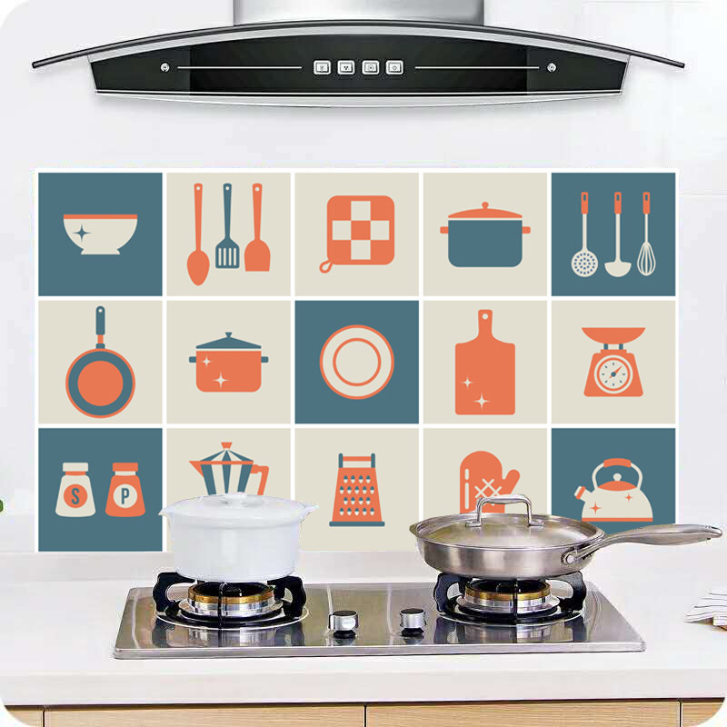 Wall Sticker Oil-proof Paste Stove Self-adhesive Foil Waterproof High Temperature Wall Stickers Cartoon Kitchen Decoration