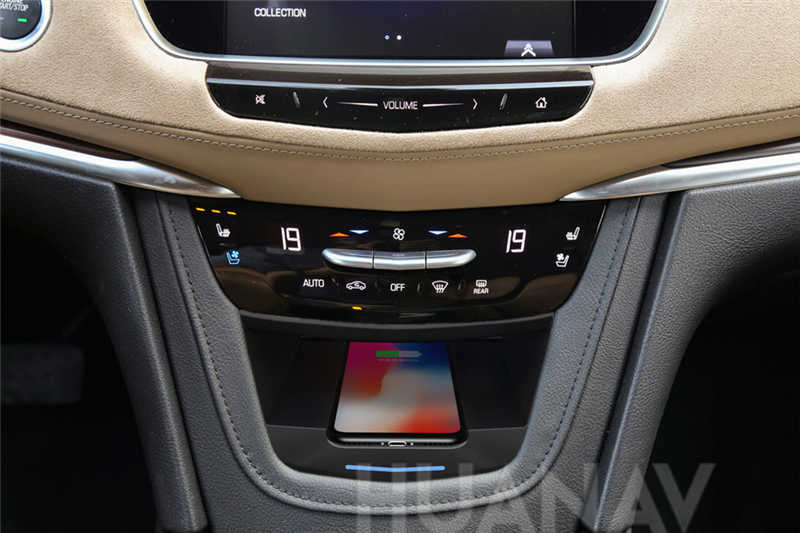 Cargador inalámbrico QI para coche para Cadillac XT5 2017-2019 inteligente infrarrojo de carga rápida inalámbrica para el soporte del teléfono del coche para iphone LG