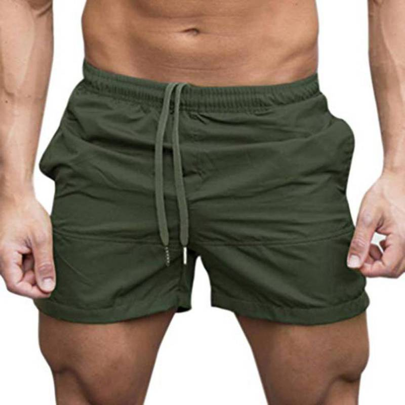 Men\'s Comfy Breathable Beach Short Pants Drawstring Shorts For Home Fitness Solid Color Elastic Waist Man Shorts Bermuda