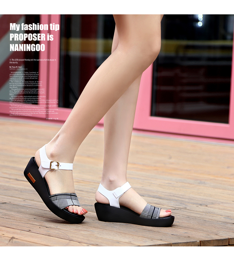 Sandals Female Summer Flat 2019 New Wild With High Heel Wedges Comfortable Non-slip Soft Bottom Pregnant Women Mother Shoes 65
