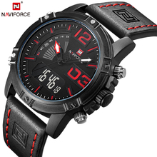 NAVIFORCE Top Brand Luxury Men Leather Military Sport Watches Men's Quartz Analog Led Digital Wristwatch Relogio Masculino Clock