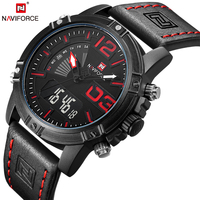 NAVIFORCE Top Brand Luxury Men Leather Military Sport Watches Men S Quartz Analog Led Digital Wristwatch