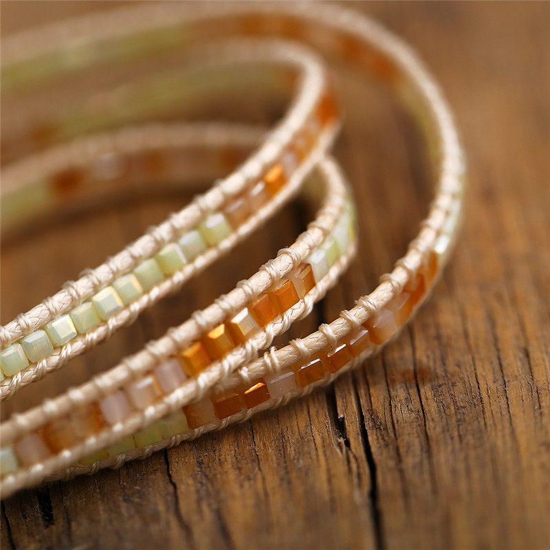Handmade Stone Beaded Leather Wrap Unisex Bracelet