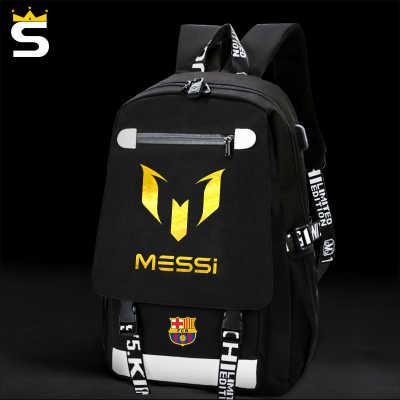 usb school bags Messi Cristiano Ronaldo CR7 Teen bookbag Backpack men back  pack Male bag Kids 3857f70da2eef