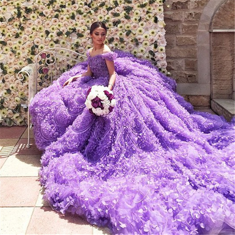 Buy hot sale 2016 new spring sexy luxury for Wedding dresses with purple trim
