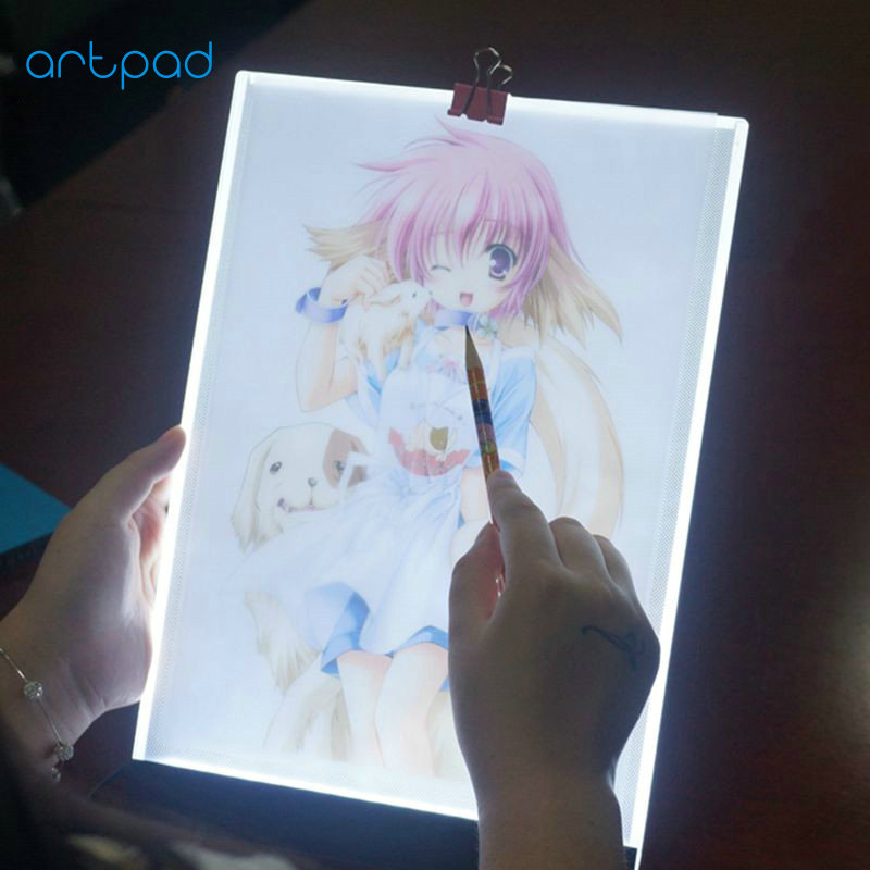 Artpad 3.5MM Ultrathin Dimmable A4 LED Light Drawing Board USB Port Touch LED Painting Board Lamp for Student Child Learning