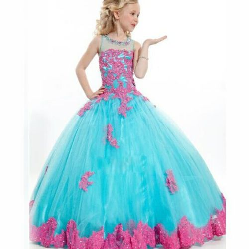 In Stock Size4/6/8/10/12/14 Appliques Blue Girls Princess Dress Formal Ball Gown чайник lara lr00 14 blue page 6