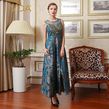 VOA 2017 Summer Silk Embroidered Lace Vintage Women Maxi Dress Fashion Plus Size Sleeveless Print Pleated Long Dress A7761