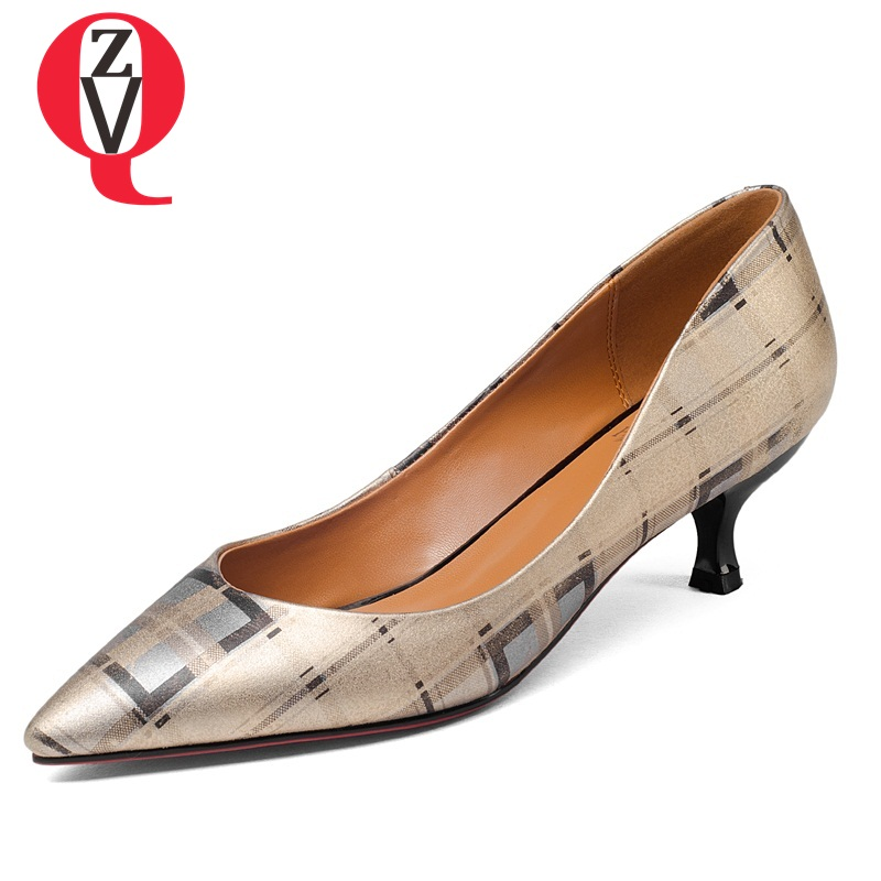ZVQ genuine leather breathable pointed toe skid resistance comfortable pumps all match style appointment woman shoes
