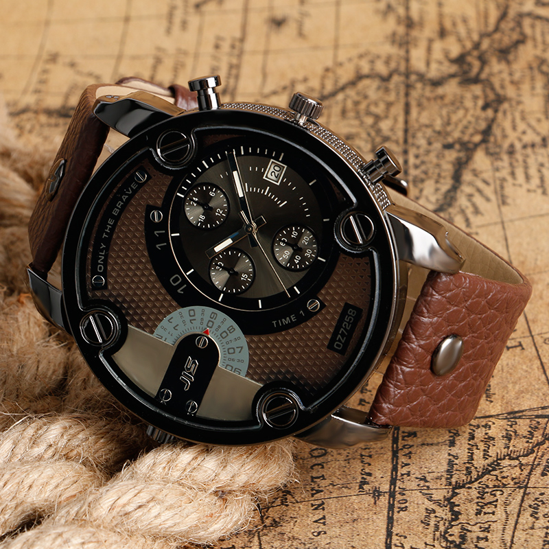 Topdudes.com - Large Dial Quartz Watches with Luxury Leather Strap