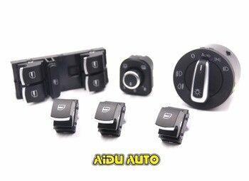Interrupteur chromé de phare Auto brossé ue + interrupteur de fenêtre principale de rétroviseur latéral pour VW Tiguan Passat B6 CC Golf 5 6 Jetta MK5 MK6