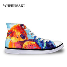 WHEREISART Women Hand Painted Vulcanized Shoes Classic High Top Canvas Comfort Female Casual Lace-up Ladies Flat