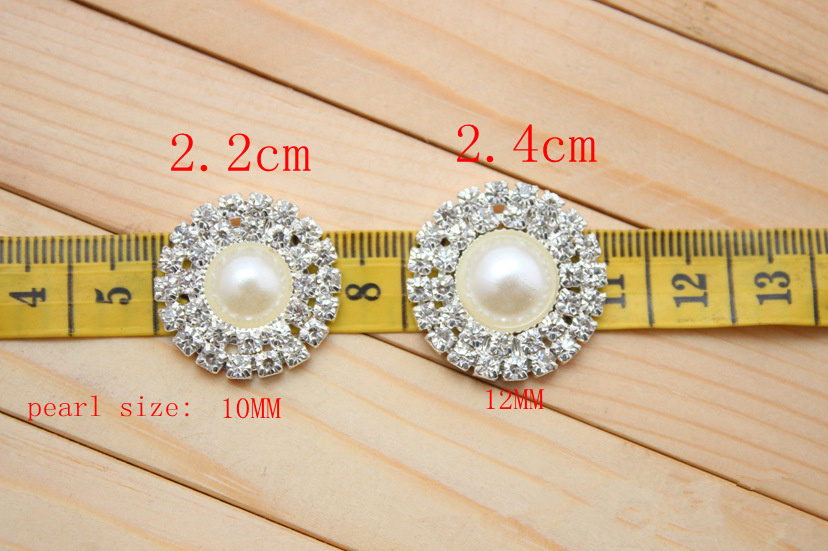 20pcs/lot 24mm Double Row Rhinestone Pearl Button Flat Back Wedding Bling Bridal Emellishment Used On Invitation Card Silver
