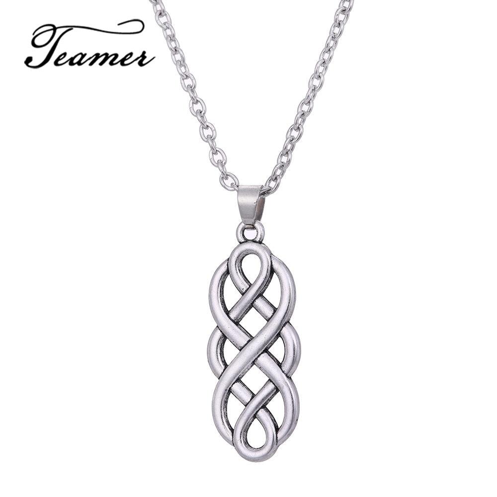 Teamer Antique Silver Color Necklace Women Simple Vintage