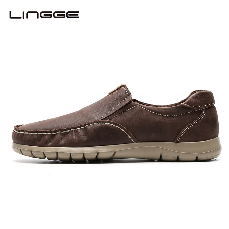 LINGGE Fashion Casual Men's Loafers, Genuine Leather Shoes For Men, Slip On Men Smart Shoes Leisure #8990 new 2017 men s genuine leather casual shoes korean fashion style breathable male shoes men spring autumn slip on low top loafers