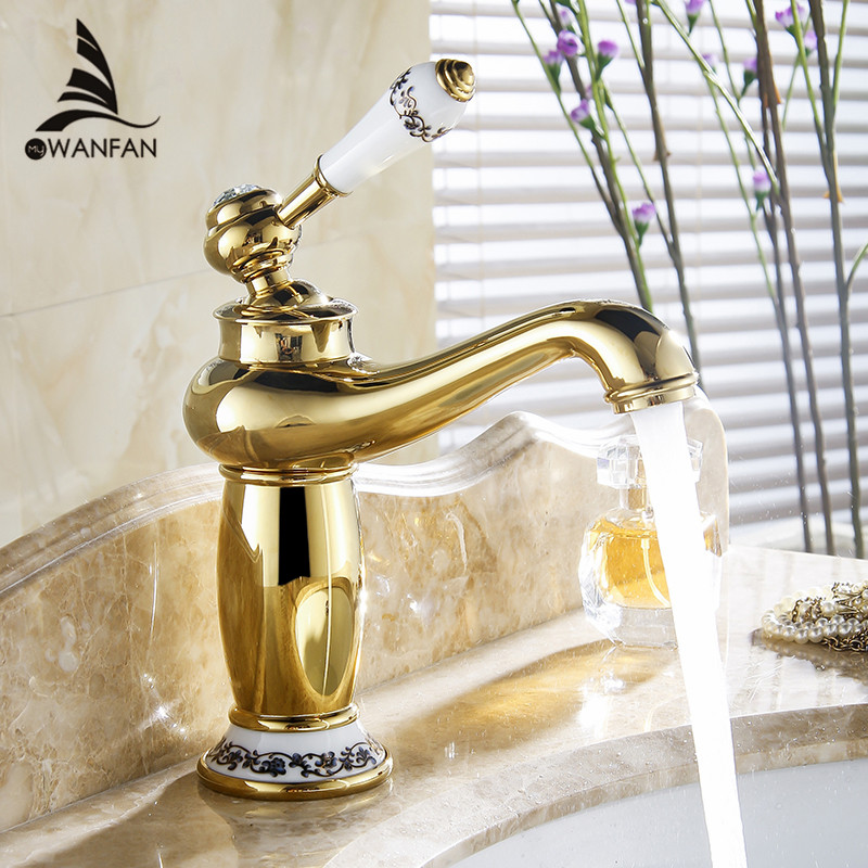 Basin Faucets Modern Faucet Bathroom Faucet Gold Finish Hot Cold Brass Basin Sink Faucet Single Handle