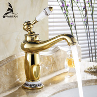 Free Shipping Contemporary Concise Bathroom Faucet Gold Finish Hot Cold Brass Basin Sink Faucet Single Handle