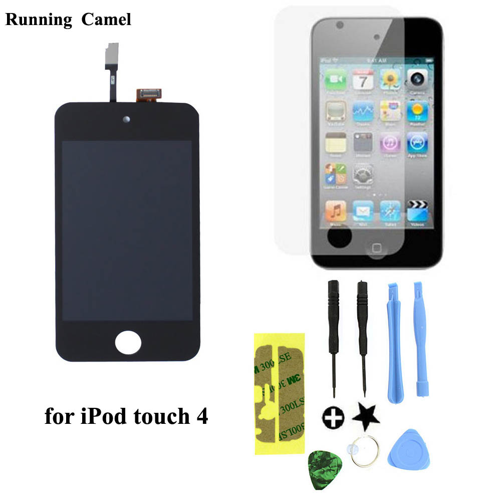 Running Camel New LCD Display Digitizer Glass Touch Screen Assembly Replacement For iPod Touch 4th Gen 4G free tools+protector