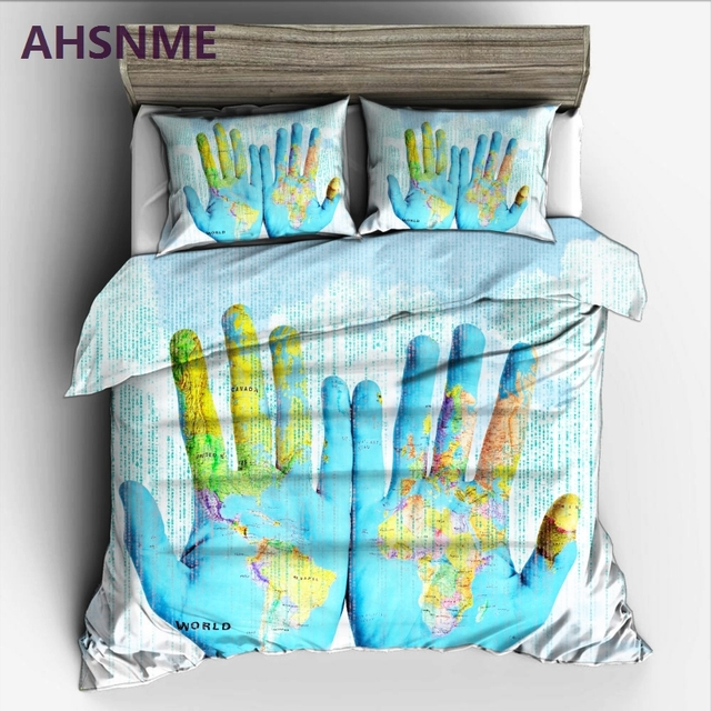 AHSNME in the hands of a world map Bedding Set High definition Print ...