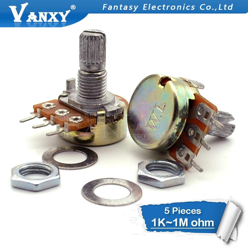 5pcs WH148 B1K B2K B5K B10K B20K B50K B100K B250K B500K B1M 3pin 15mm 1K 2K 5K 10K 20K 50K 100K 250K 500K 1M 20pcs rm065 rm 065 100 200 500 1k 2k 5k 10k 20k 50k 100k 200k 500k 1m ohm trimpot trimmer potentiometer variable resistor