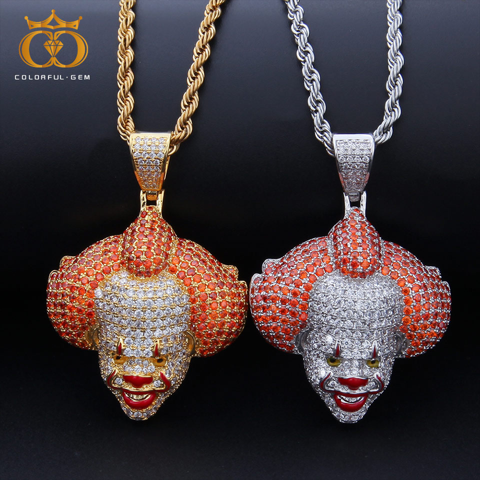 colorful.gemMen Hip Hop Jewelry Copper Iced Out Bling Clown Pendants Necklaces Fashion popular pendant necklace Hiphop Rappecolorful.gemMen Hip Hop Jewelry Copper Iced Out Bling Clown Pendants Necklaces Fashion popular pendant necklace Hiphop Rappe