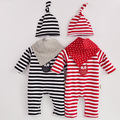New Spring Autumn Baby Rompers Boys Girls Romper+ Hat Cotton Striped Long Sleeve Suits Cartoon Baby Clothing Newborn Suits