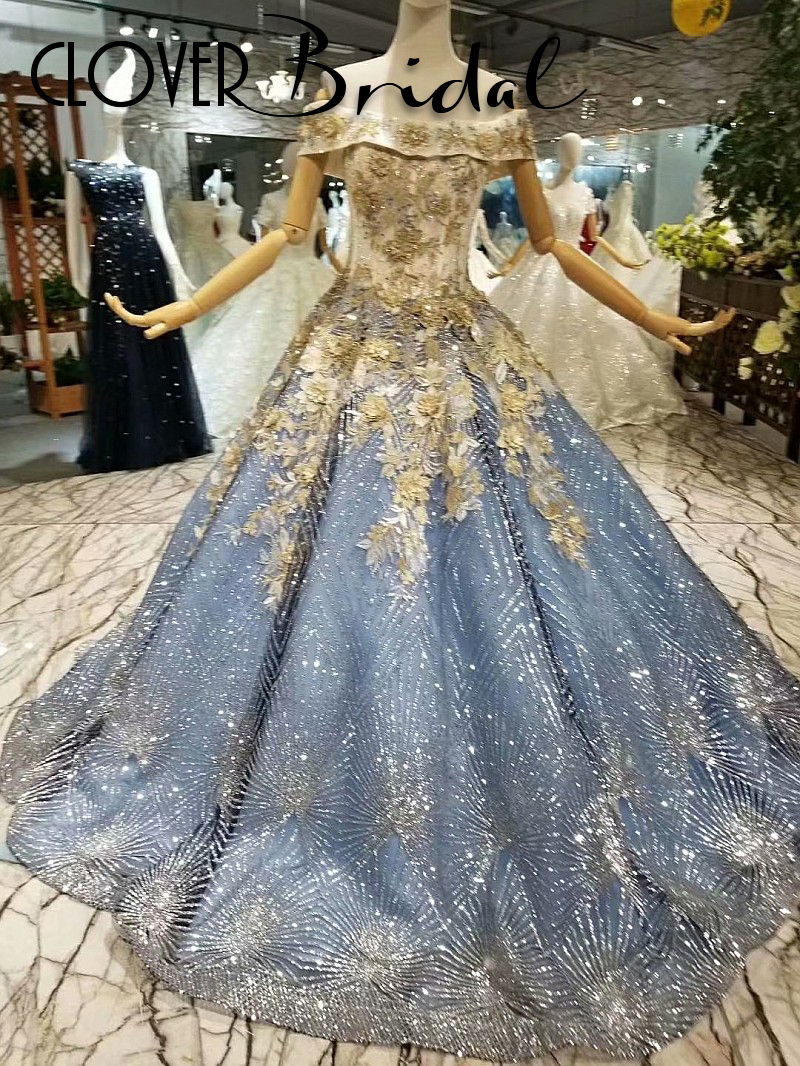 CloverBridal beaded embroidery bodice sparkly light blue skirt ever pretty prom dresses 2019 floor length off